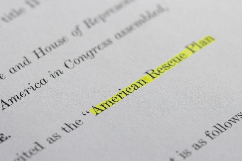 American Rescue Plan document with highlighted text